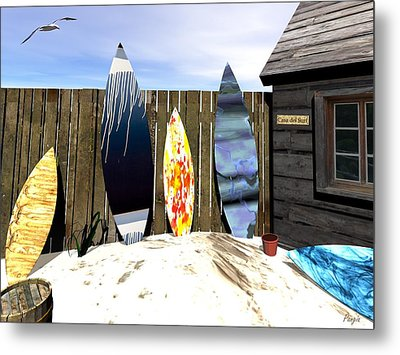 Metal Print featuring the digital art Casa Del Surf by John Pangia