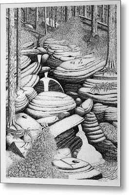 Metal Print featuring the drawing Cascade In Boulders by Daniel Reed
