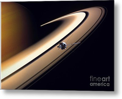 Cassini Spacecraft Metal Print by Gil Babin and Photo Researchers