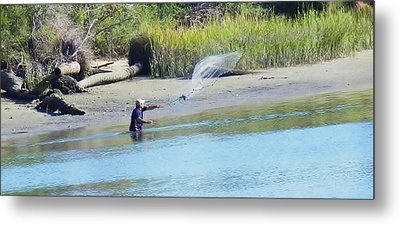 Casting For Shrimp At Hunting Island Metal Print by Patricia Greer