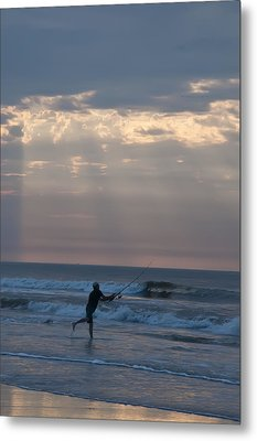 Casting Into The Surf Metal Print by Bill Cannon