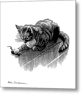 Cat And Mouse, Artwork Metal Print by Bill Sanderson