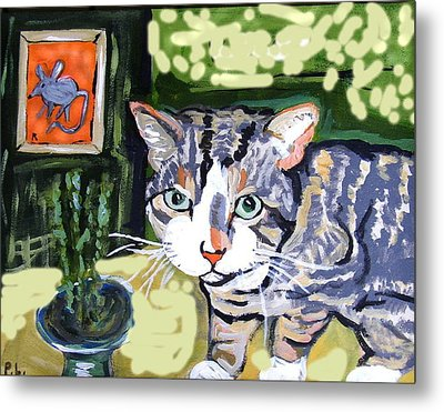 Cat And Mouse Friends Metal Print by Patricia Lazar