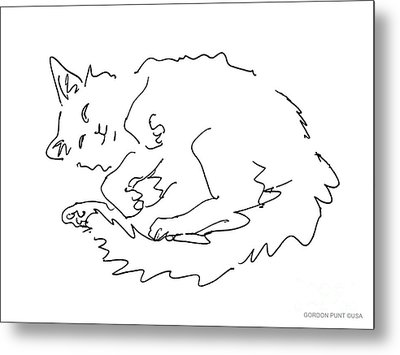 Cat-drawings-black-white-1 Metal Print by Gordon Punt