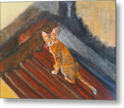 Metal Print featuring the painting Cat In Thailand by Jessmyne Stephenson