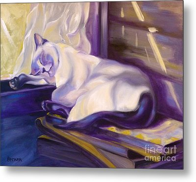 Cat Nap In The Office Metal Print by Susan A Becker