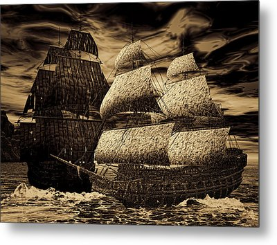 Catastrophic Collision-sepia Metal Print by Lourry Legarde