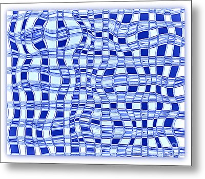 Catch A Wave - Blue Abstract Metal Print by Carol Groenen