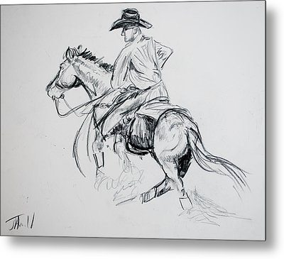 Metal Print featuring the drawing Catching Up by Jim  Arnold