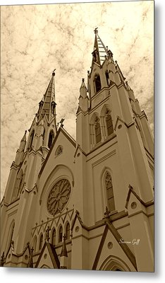 Cathedral Of St John The Baptist In Sepia Metal Print by Suzanne Gaff