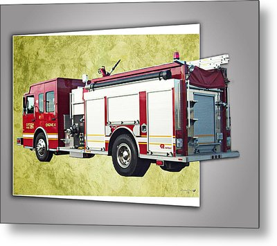 Catoosa Fire Engine 4 Metal Print by Linda Deal