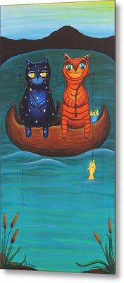 Cats Fish Metal Print by Jennifer Alvarez