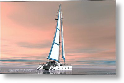 Metal Print featuring the painting Catsailing Sunset by Walter Colvin