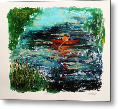 Cattails And Canoe Metal Print by John Williams