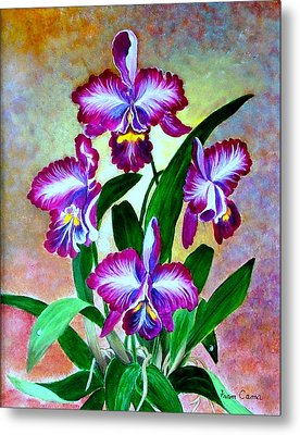Metal Print featuring the painting Cattleya Orchid by Fram Cama
