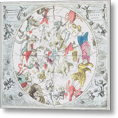 Celestial Planisphere Showing The Signs Of The Zodiac Metal Print