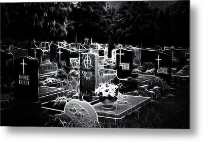 Cemetary At Night Metal Print by Ellen Heaverlo