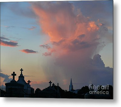 Metal Print featuring the photograph Cemetery Skies by Jeanne  Woods