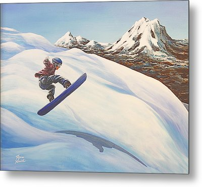 Central Oregon Snowboarding Metal Print by Janice Smith