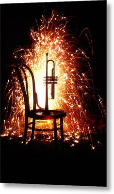 Chair And Horn With Fireworks Metal Print by Garry Gay