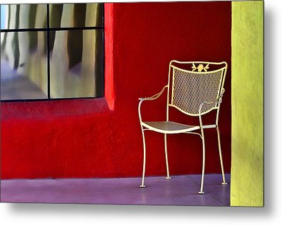 Chair On The Balcony Metal Print by Carol Leigh