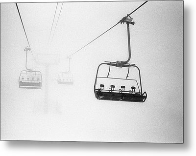 Chairlift In The Fog Metal Print by Brian Caissie