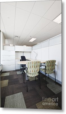 Chairs And Desk In Office Cubicle Metal Print by Jetta Productions, Inc