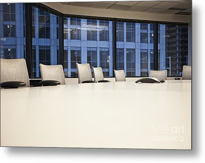 Chairs And Table In A Conference Room Metal Print
