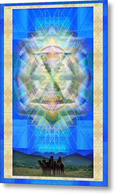 Metal Print featuring the digital art Chalice Star Over Three Kings Holiday Card Ix by Christopher Pringer