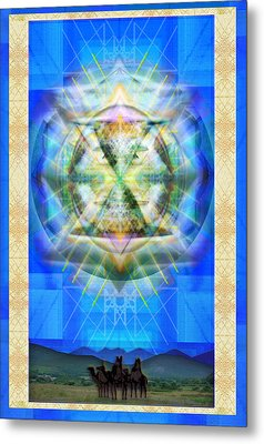 Metal Print featuring the digital art Chalice Star Over Three Kings Holiday Card Xbbrtii by Christopher Pringer