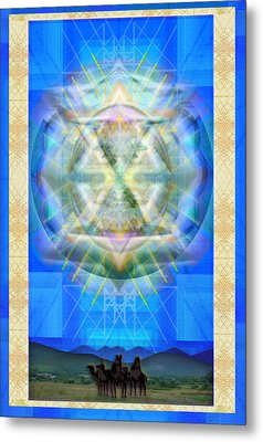 Metal Print featuring the digital art Chalice Star Over Three Kings Holiday Card Xci by Christopher Pringer
