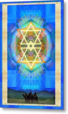 Metal Print featuring the digital art Chalice Synthesis Star Over Three Kings Holiday Card  Vi Lt by Christopher Pringer