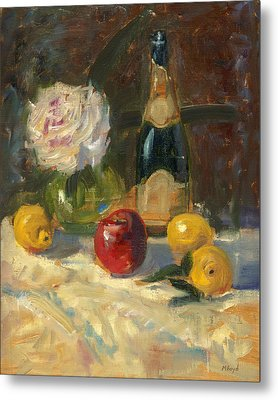 Champagne And Roses Metal Print by Marlyn Boyd