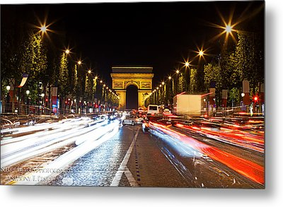 Champs-elysees And The Arc De Triomphe Metal Print by Anthony Festa