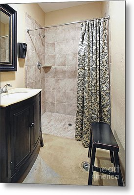 Changing Room And Shower Metal Print by Skip Nall
