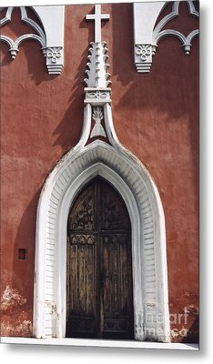 Chapel Entrance In White And Brick Red Metal Print by Agnieszka Kubica