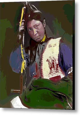 Metal Print featuring the mixed media Charles American Horse by Charles Shoup