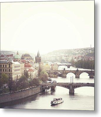 Charles Bridge Crossing Vltava River Metal Print