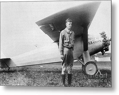 Charles Lindbergh American Aviator Metal Print by Photo Researchers