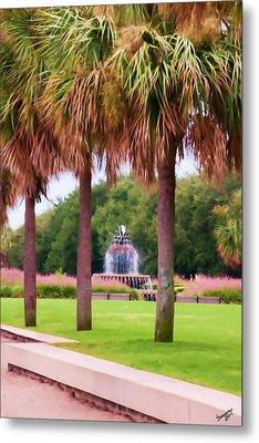 Charleston Pineapple Fountain Metal Print