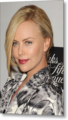 Charlize Theron At In-store Appearance Metal Print by Everett