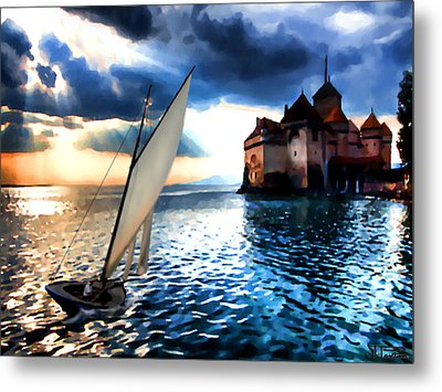 Chateau De Chillon On Lake Geneva Metal Print