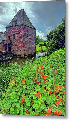 Metal Print featuring the photograph Chateau Tower And Nasturtiums by Dave Mills