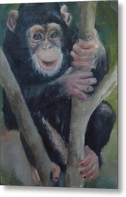 Metal Print featuring the painting Cheeky Monkey by Jessmyne Stephenson