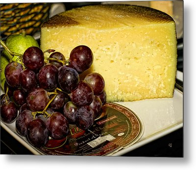 Cheese And Grapes Metal Print by Barbara Middleton