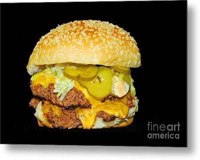 Metal Print featuring the photograph Cheeseburger by Cindy Manero