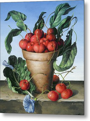 Cherries In Terracotta With Blue Flower Metal Print by Amelia Kleiser