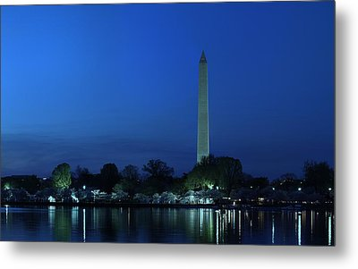 Cherry Blossoms Sunset At The Washington Monument Metal Print by Metro DC Photography