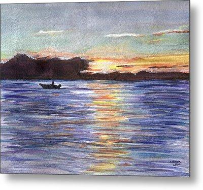 Metal Print featuring the painting Chesapeake Dusk Boat Ride by Clara Sue Beym