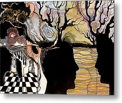 Metal Print featuring the painting Chess Game by Valentina Plishchina